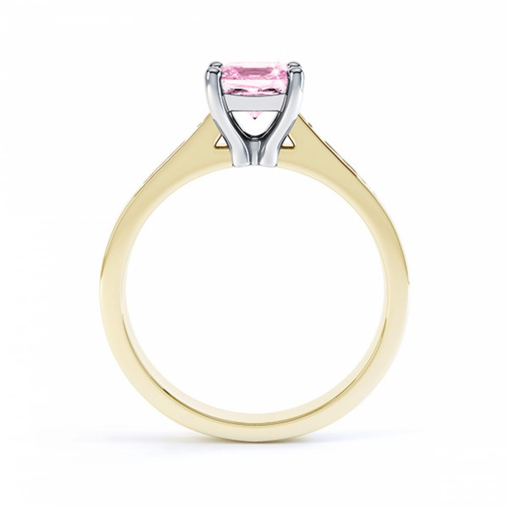 Pink Fliss Princess diamond engagement ring with diamond shoulders yellow gold pink sapphire side view