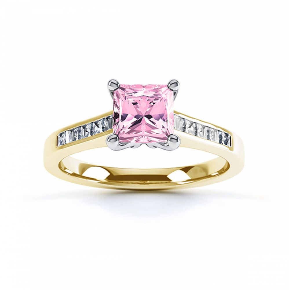 Pink Fliss Princess diamond engagement ring with diamond shoulders yellow gold pink sapphire top view