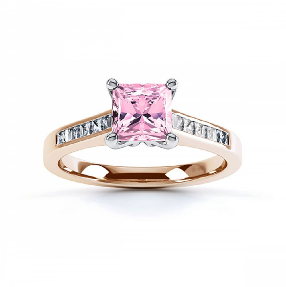 Pink Fliss Princess diamond engagement ring with diamond shoulders rose gold pink sapphire top view