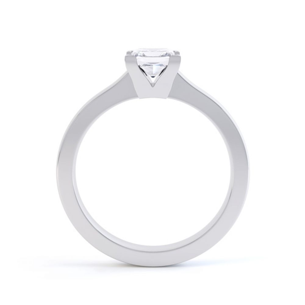 Princess Solitaire Engagement Ring with Low Setting Side View In White Gold
