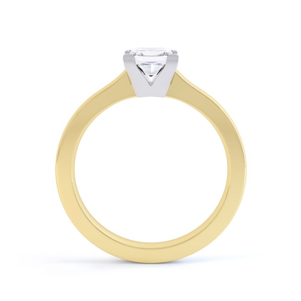 Princess Solitaire Engagement Ring with Low Setting Side View In Yellow Gold