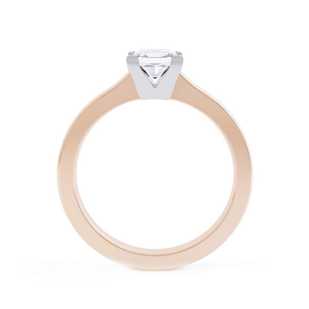 Princess Solitaire Engagement Ring with Low Setting Side View In Rose Gold