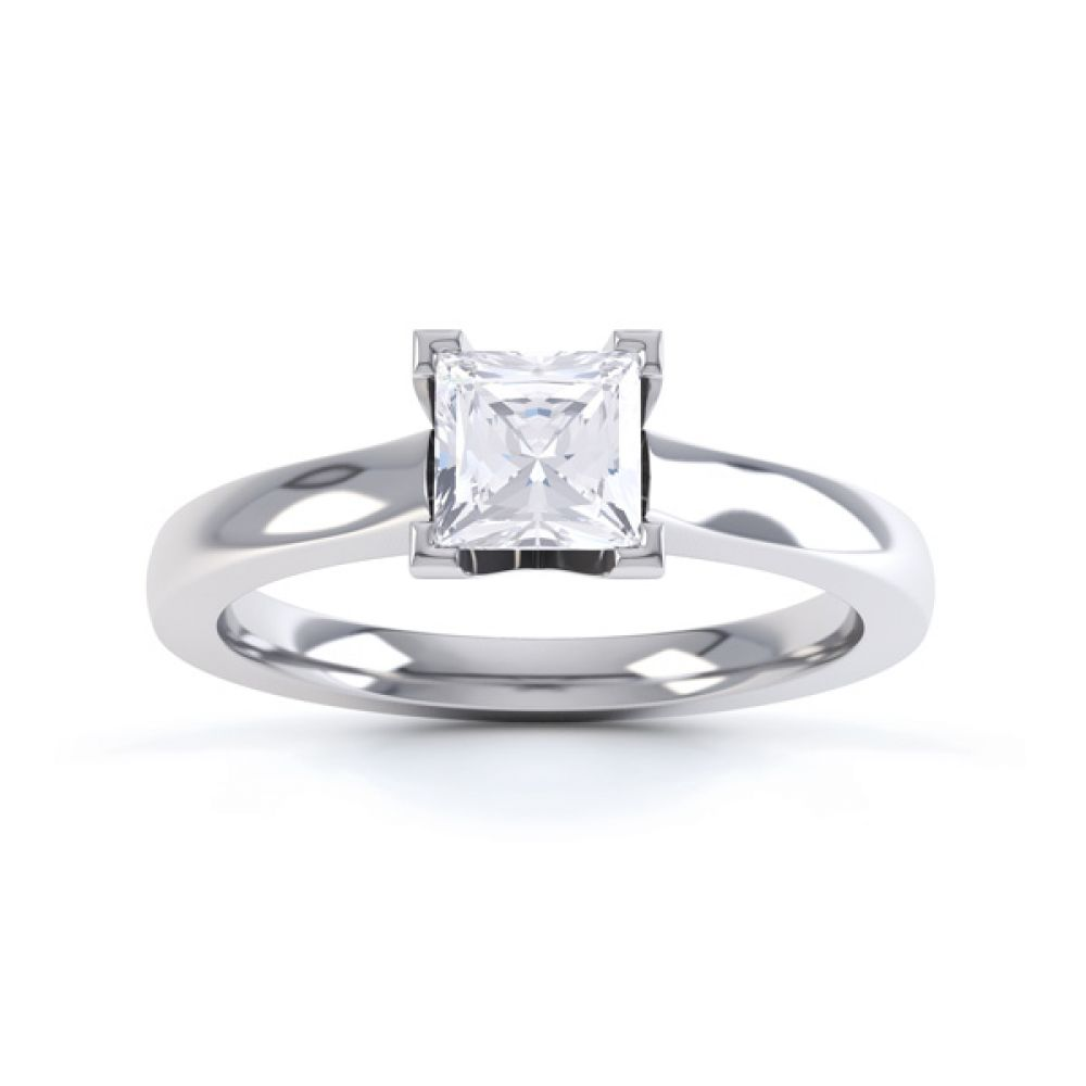 Princess Solitaire Engagement Ring with Low Setting Front View In White Gold