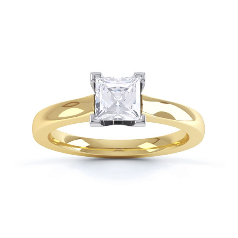 Princess Solitaire Engagement Ring with Low Setting Front View In Yellow Gold