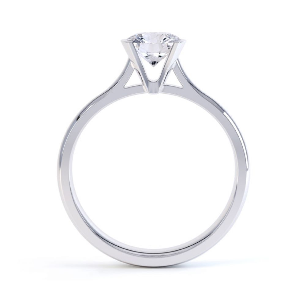 Fluted Part Engagement Ring with High Setting Side View