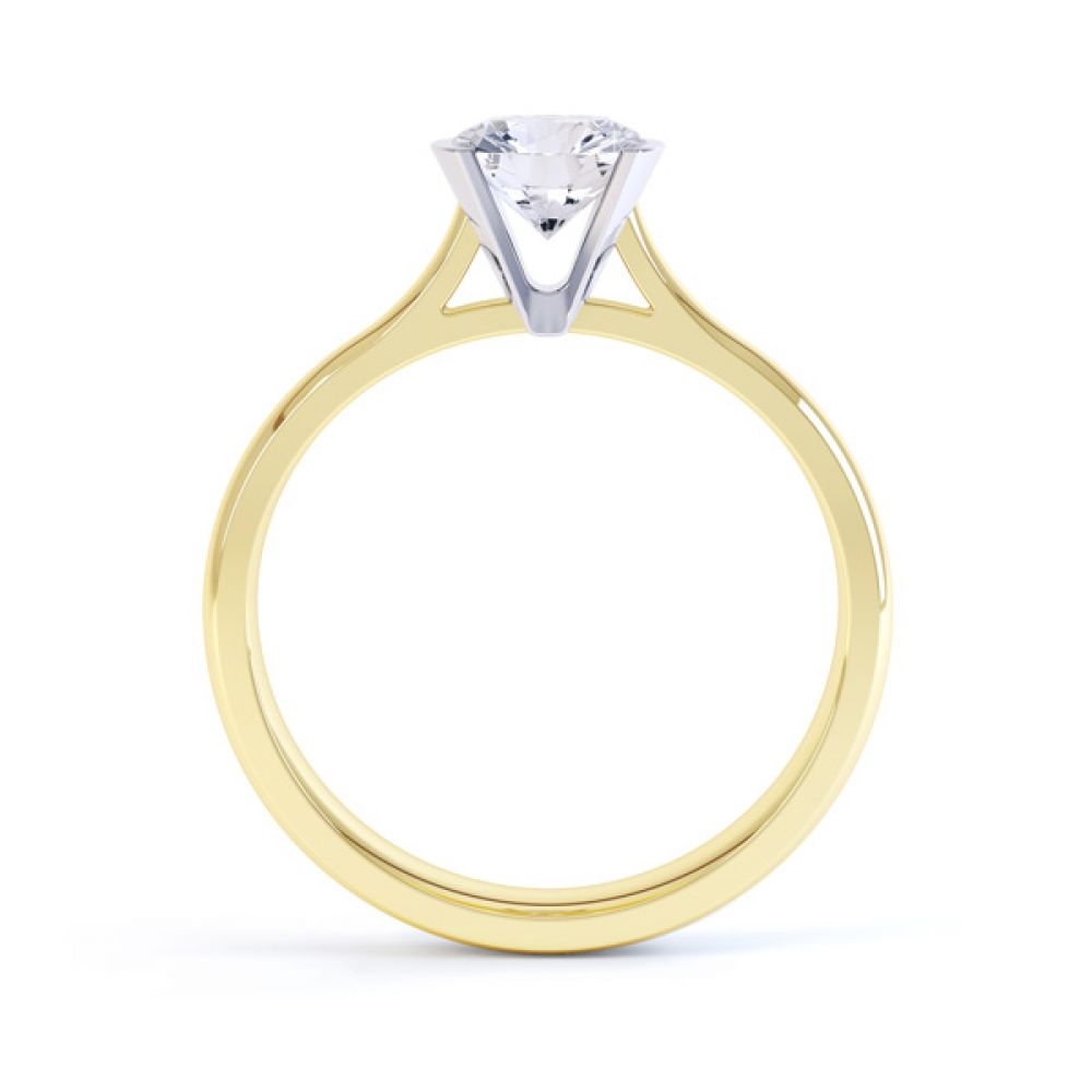 Fluted Part Engagement Ring with High Setting Side View Yellow Gold