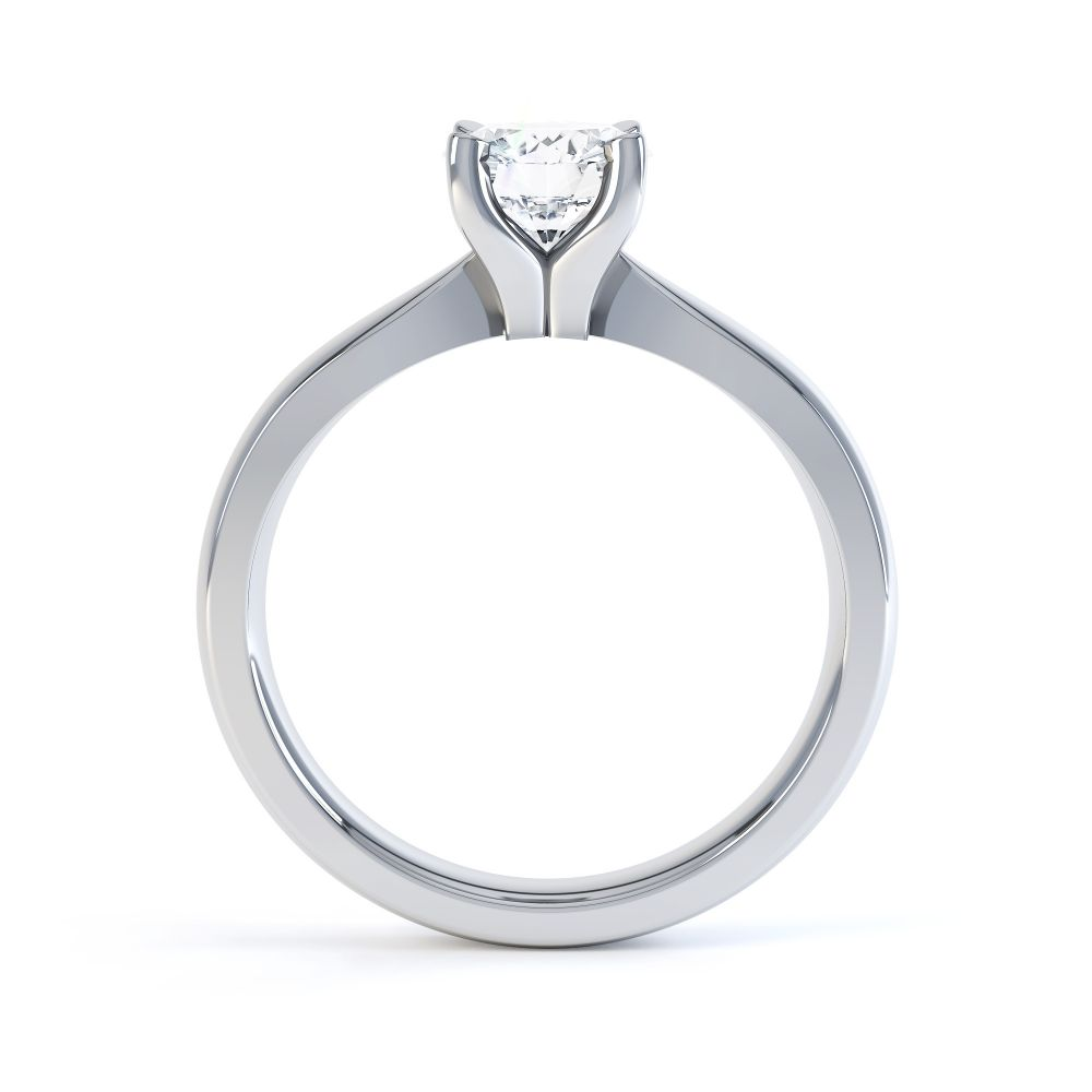 Solstice Style Four Claw Solitaire Engagement Ring Side View In White Gold