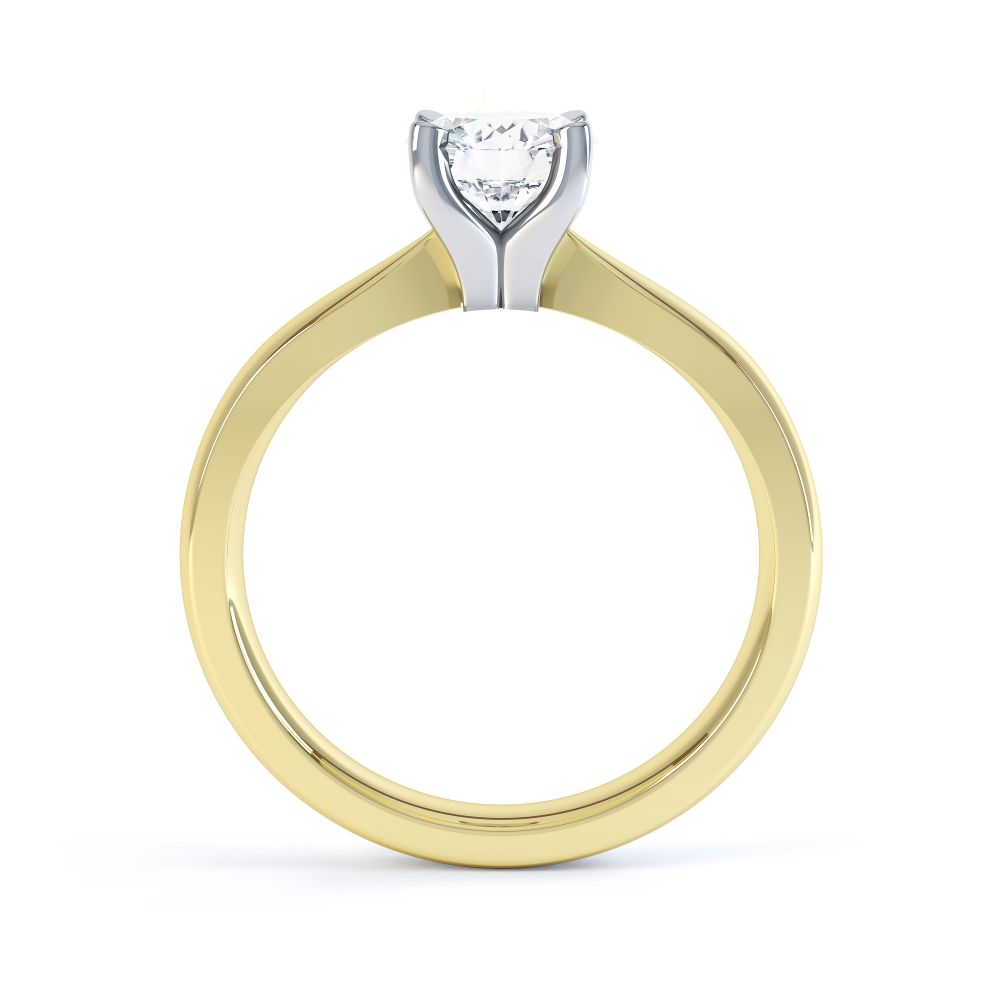 Solstice Style Four Claw Solitaire Engagement Ring Side View In Yellow Gold