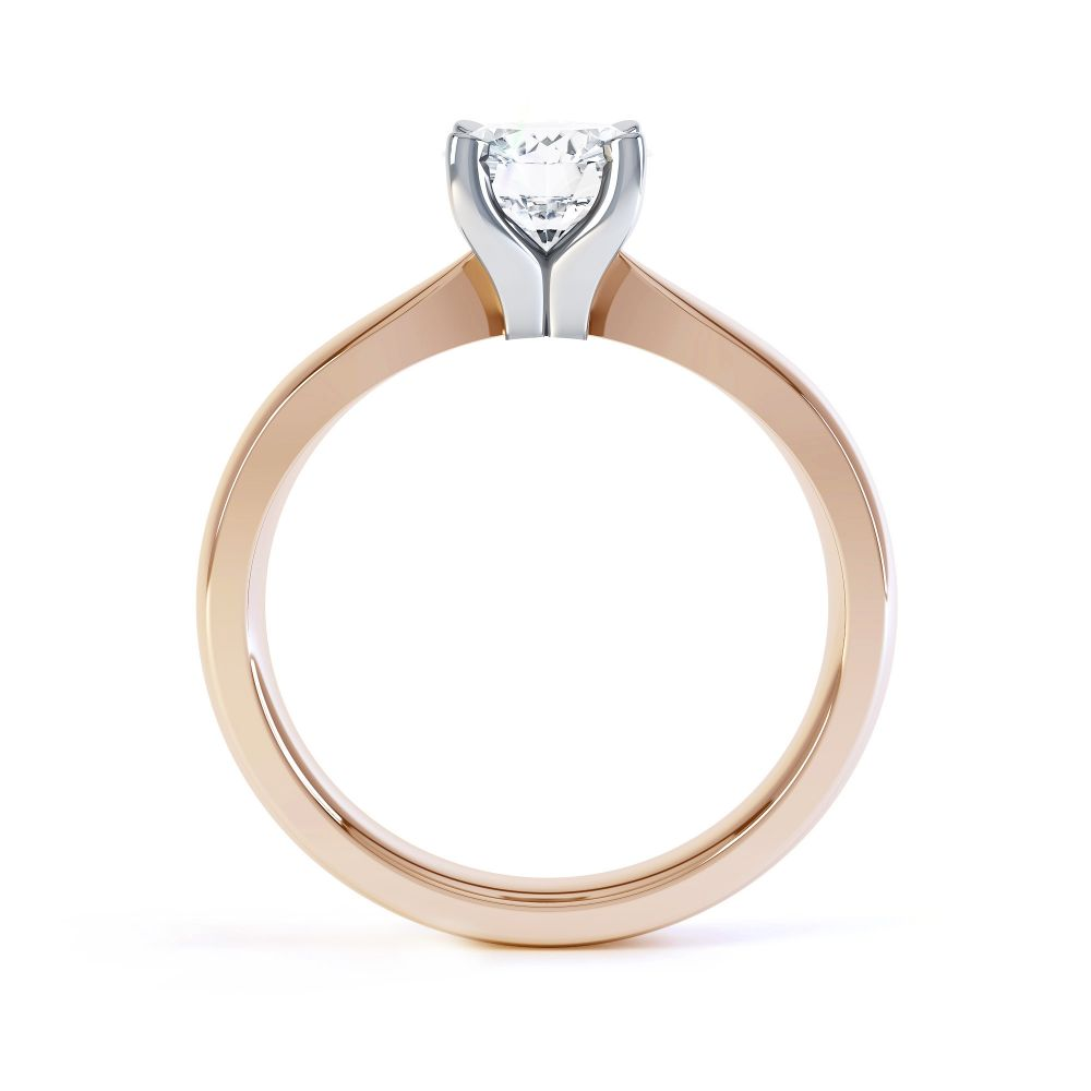 Solstice Style Four Claw Solitaire Engagement Ring Side View In Rose Gold