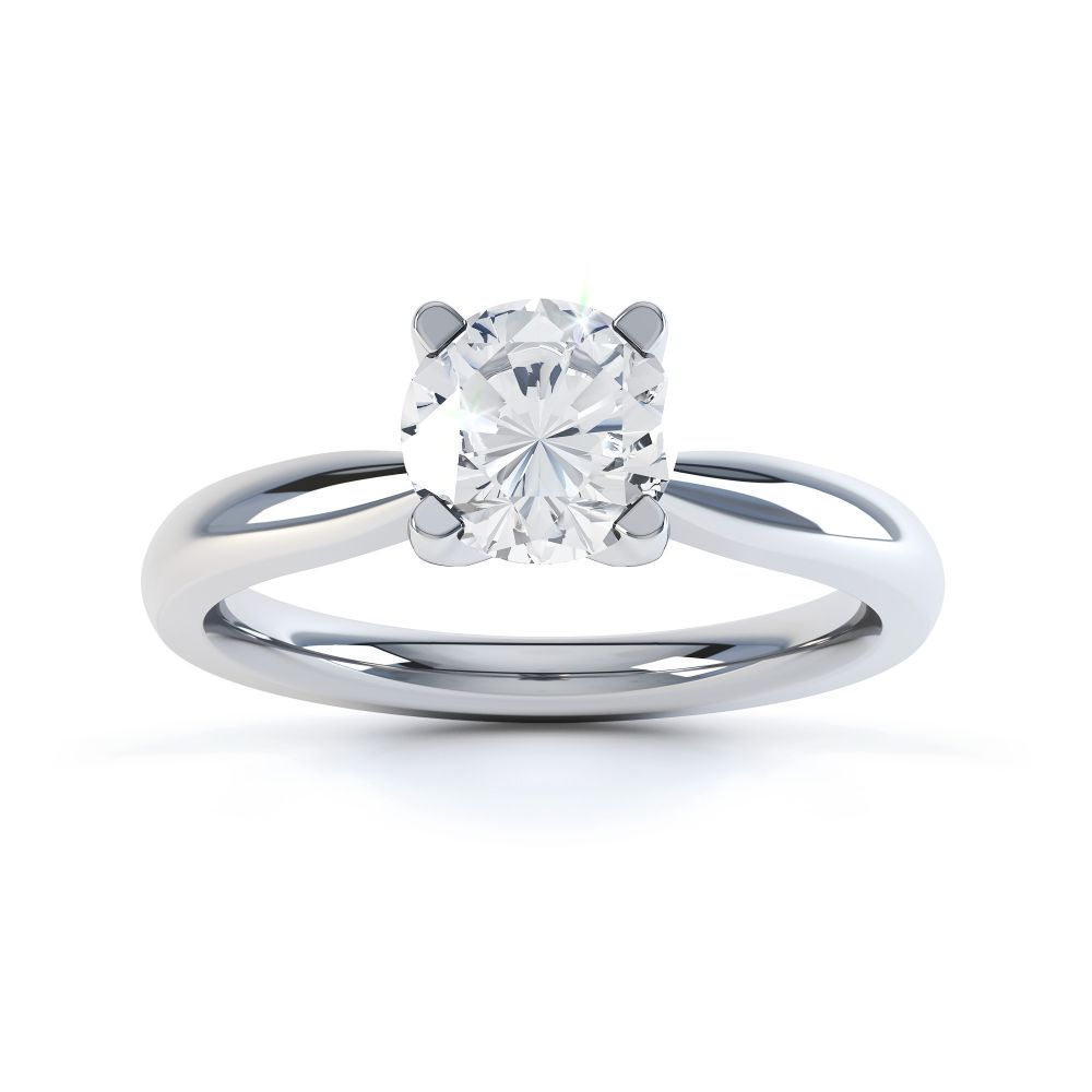 Solstice Style Four Claw Solitaire Engagement Ring Front View In White Gold