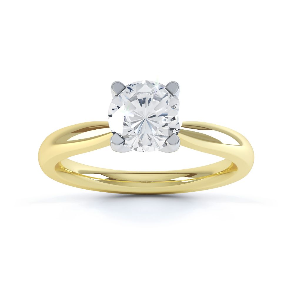 Solstice Style Four Claw Solitaire Engagement Ring Front View In Yellow Gold