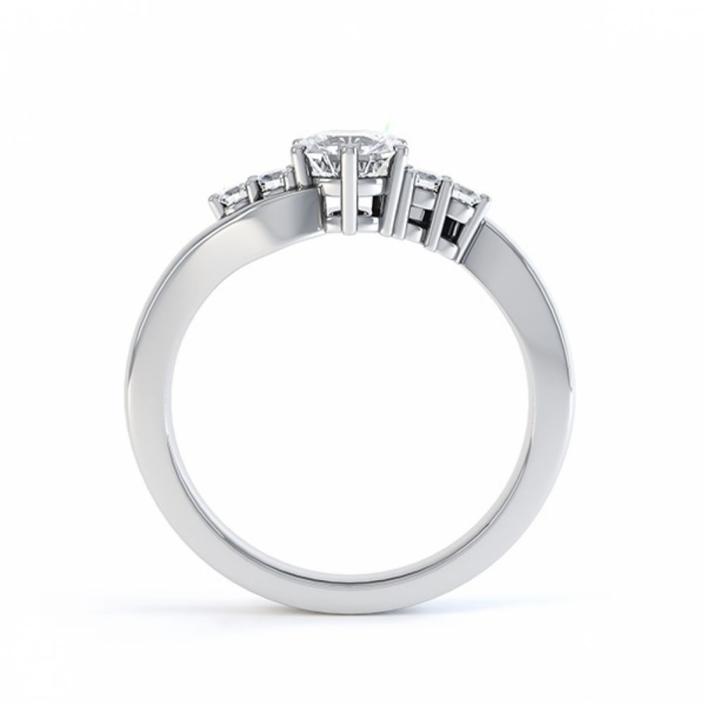 Lyra 5 stone diamond engagement ring side view in white gold
