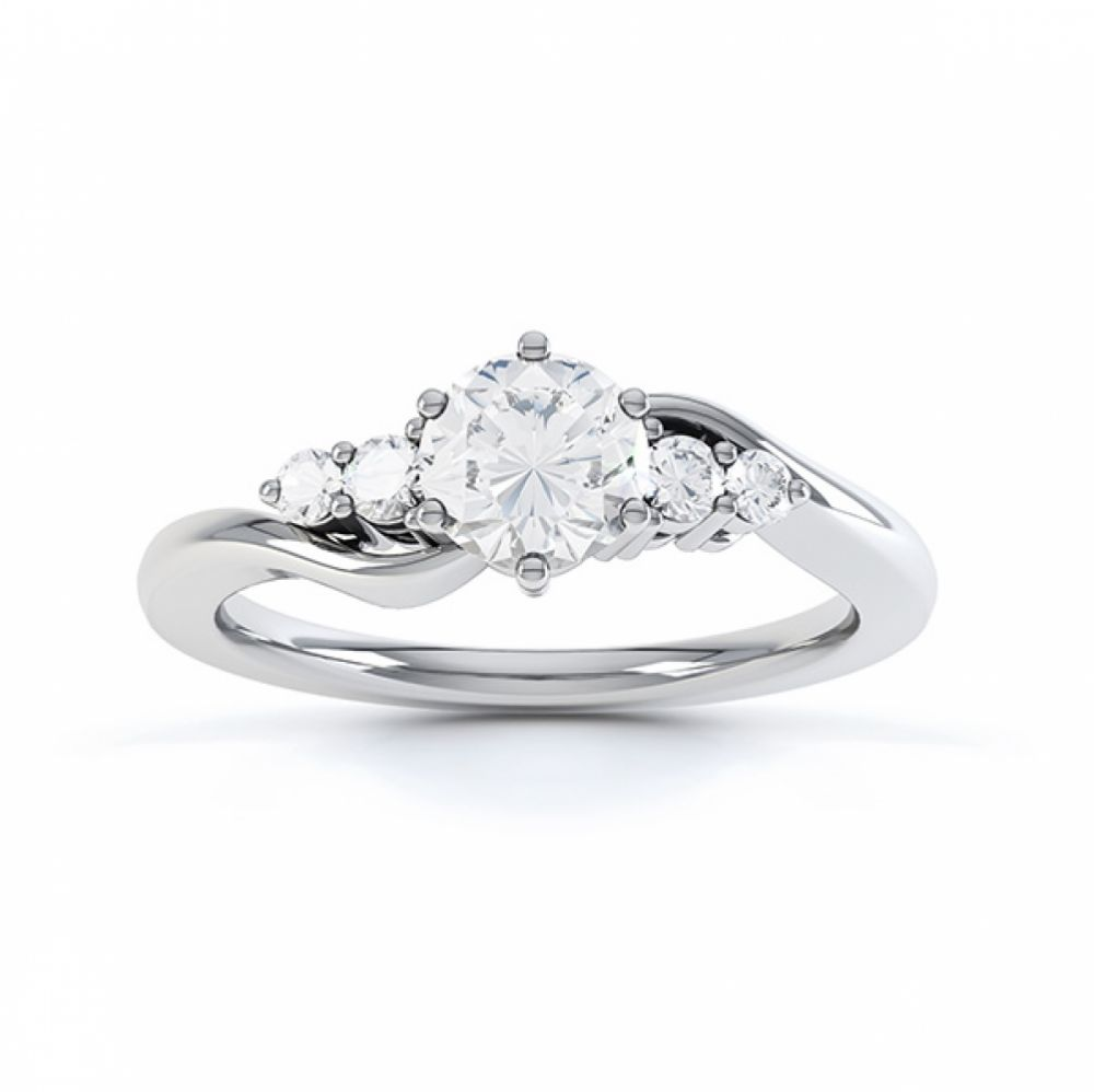 Lyra 5 stone diamond engagement ring top view in white gold showing twisted shoulders