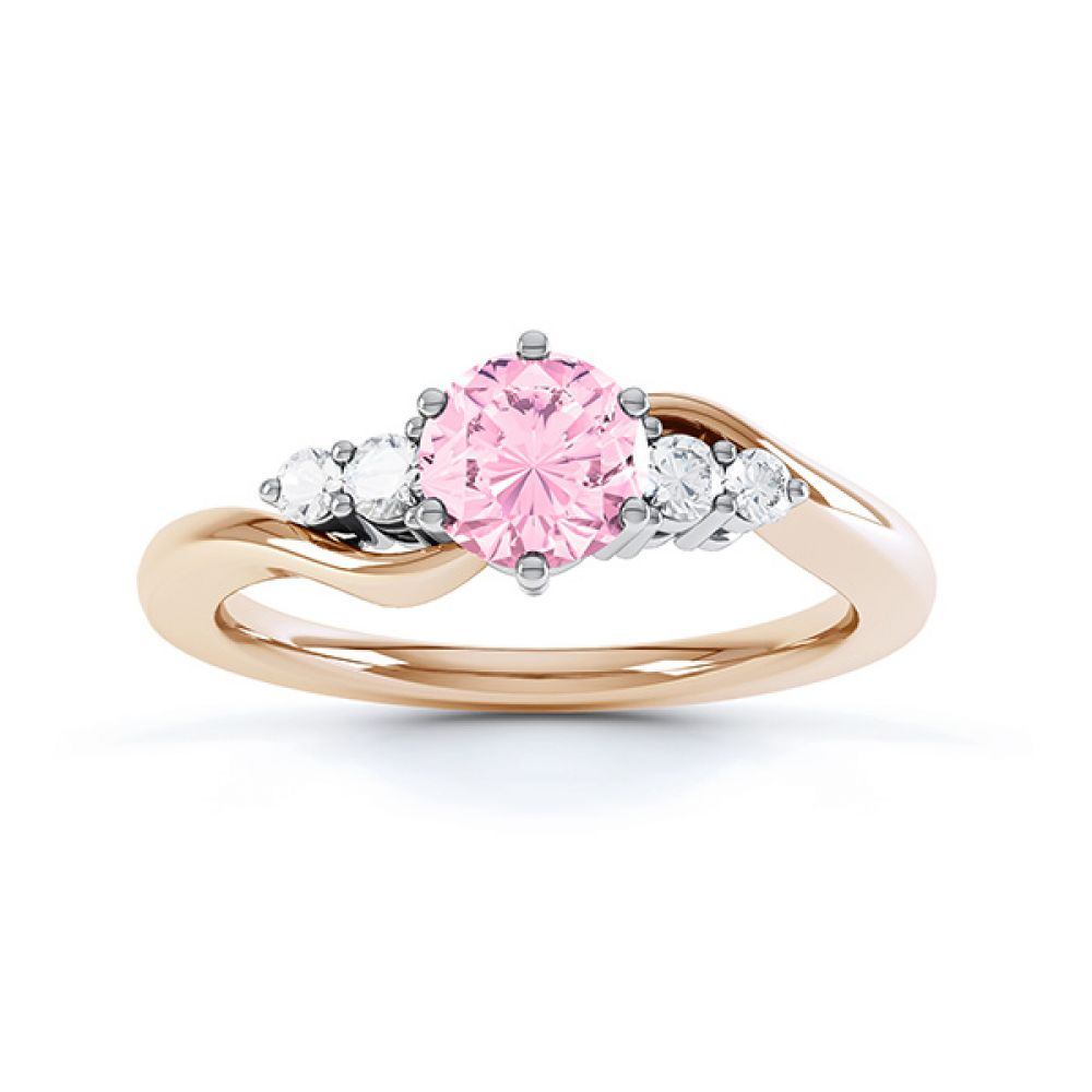 Tickled Pink Engagement Ring Rose Gold Top View