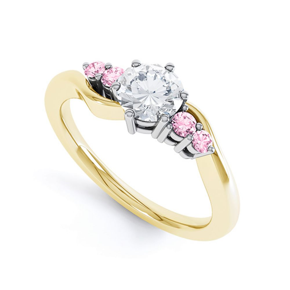 Fuschia pink sapphire and diamond 5 stone engagement ring yellow gold perspective view