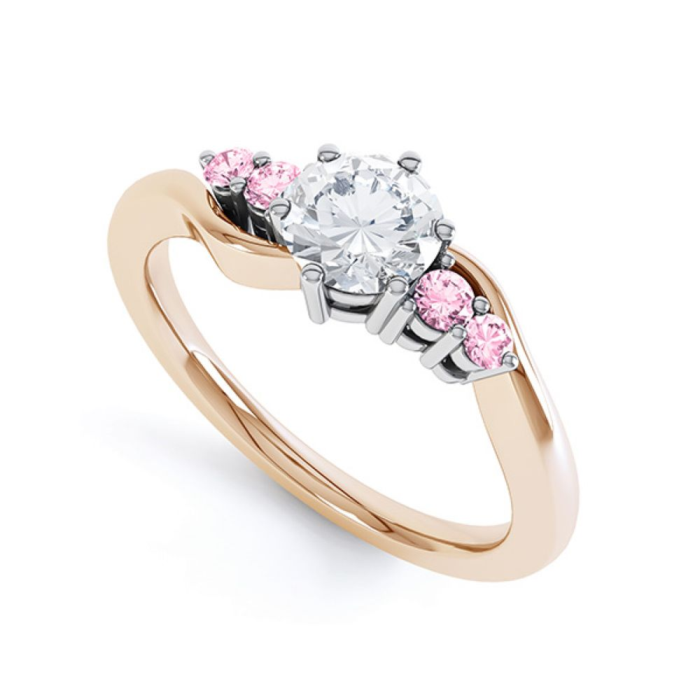 Fuschia pink sapphire and diamond 5 stone engagement ring rose gold perspective view