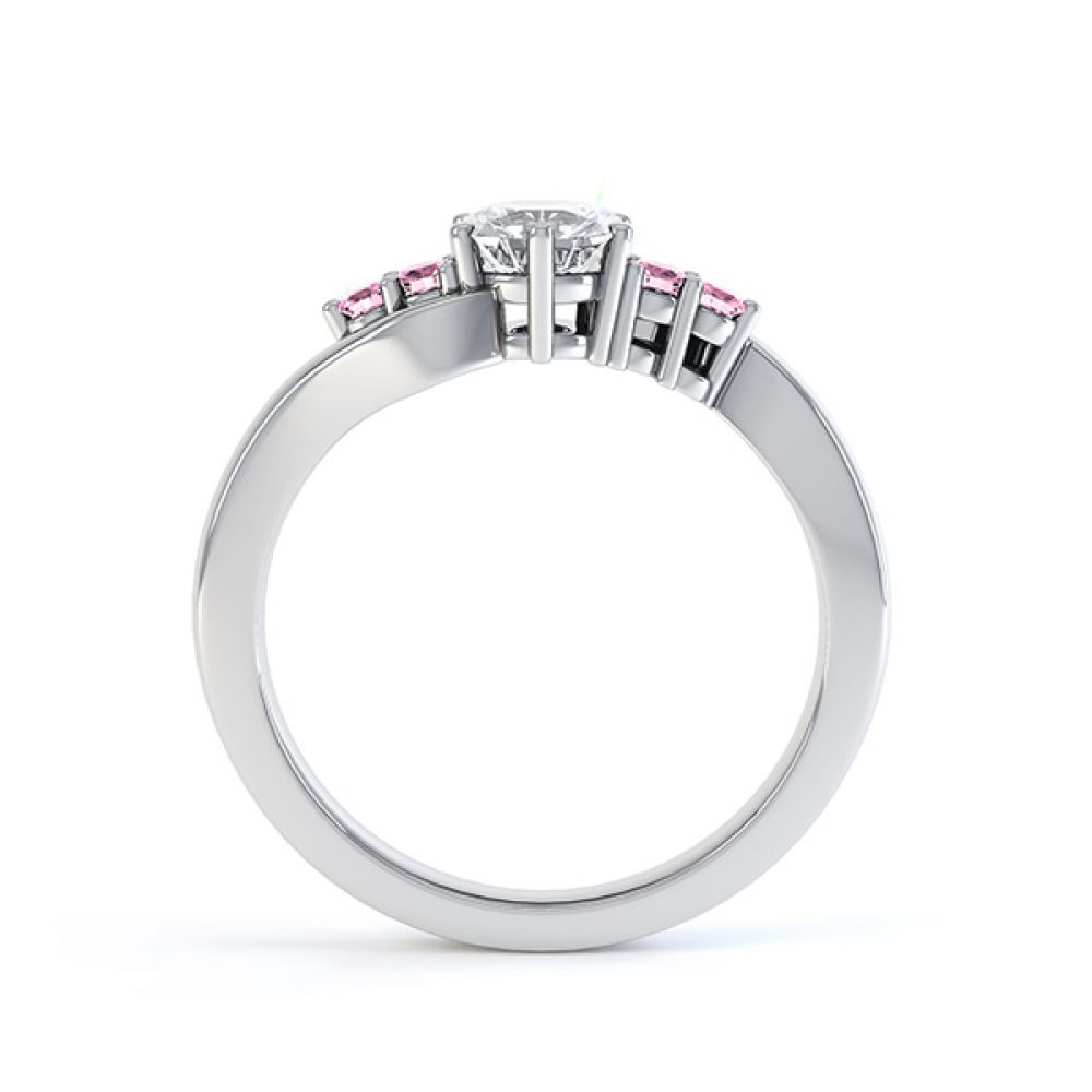 Fuschia pink sapphire and diamond 5 stone engagement ring white gold side view