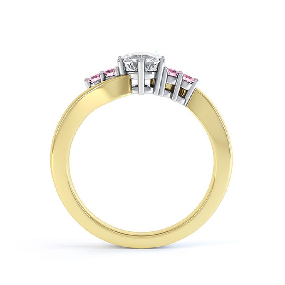 Fuschia pink sapphire and diamond 5 stone engagement ring yellow gold side view