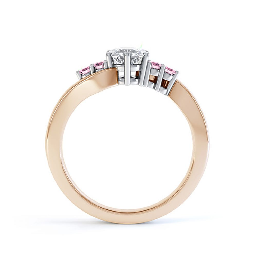 Fuschia pink sapphire and diamond 5 stone engagement ring rose gold side view