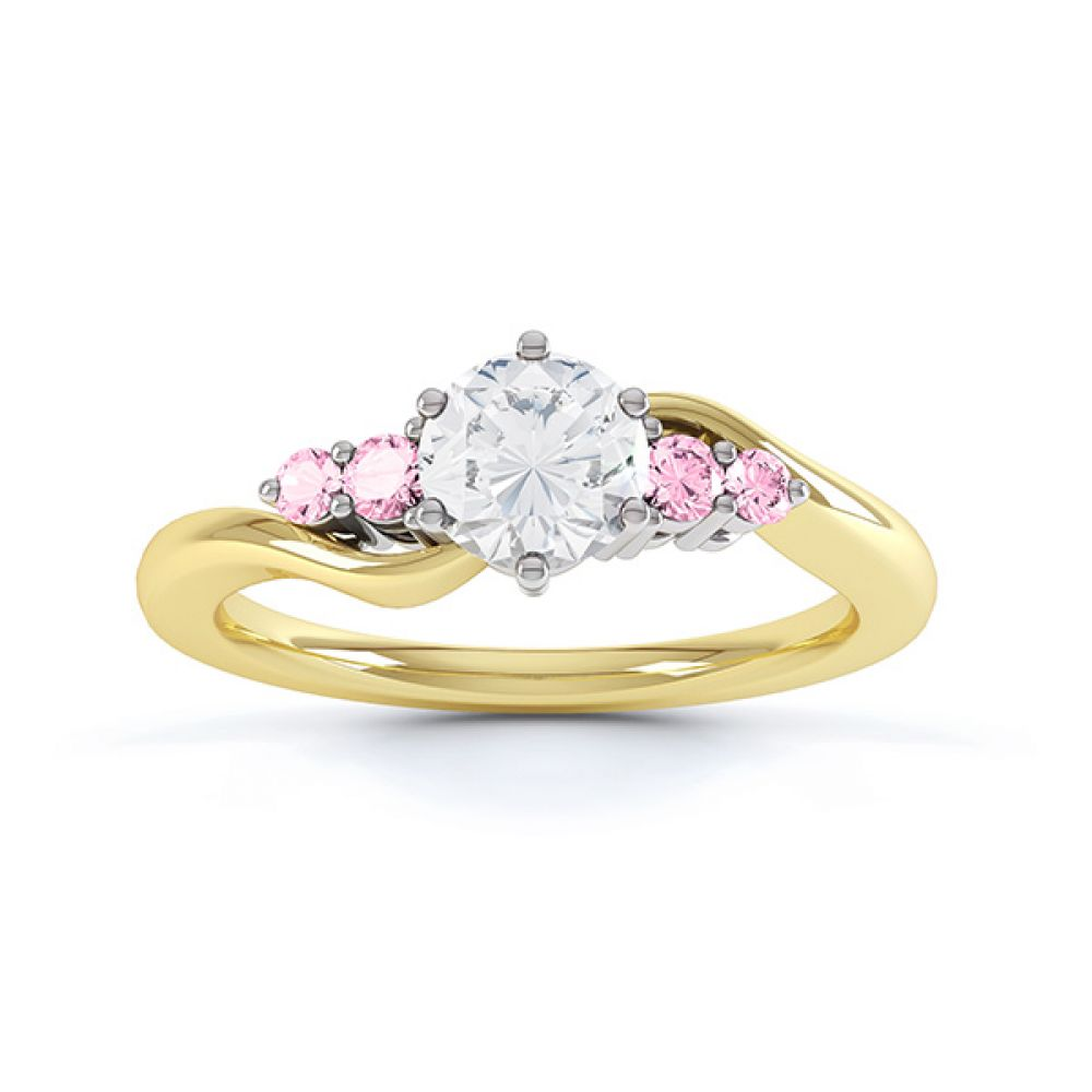 Fuschia pink sapphire and diamond 5 stone engagement ring yellow gold top view
