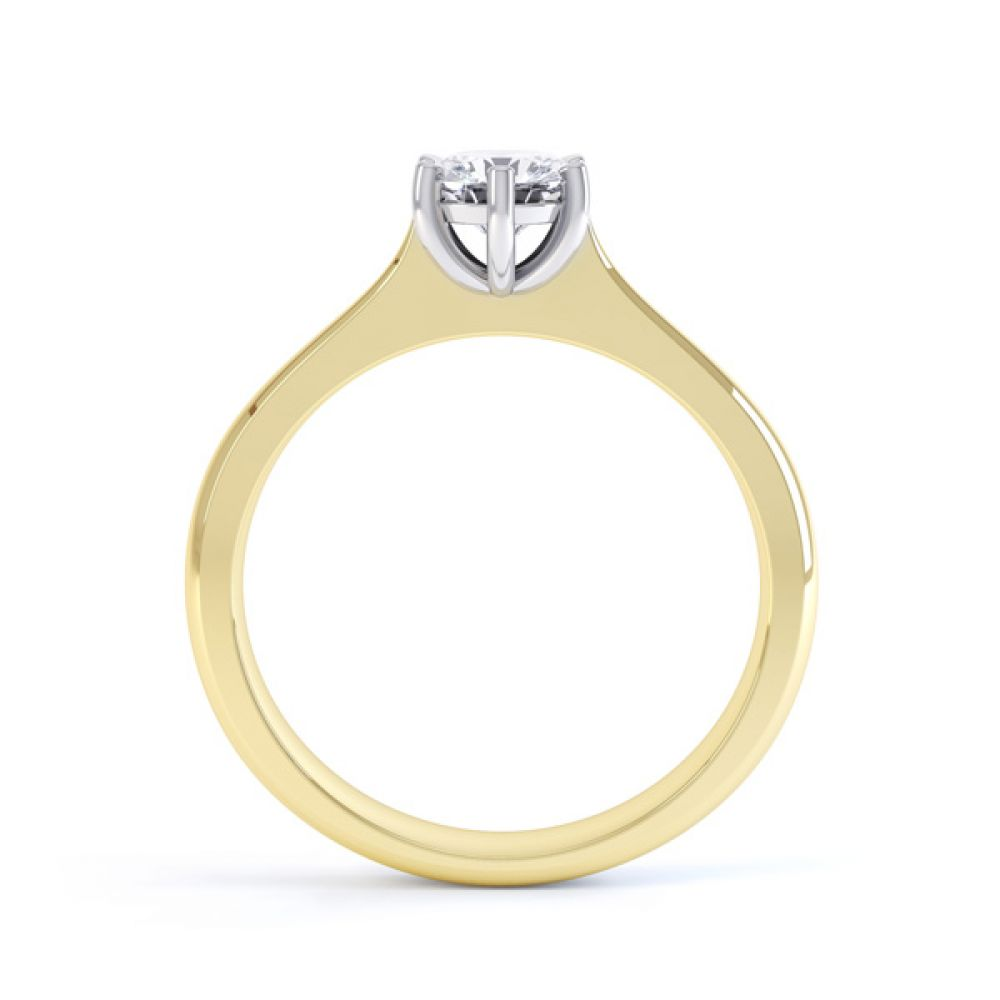 6 Claw Diamond Engagement Ring with Basket Setting Side View In Yellow Gold