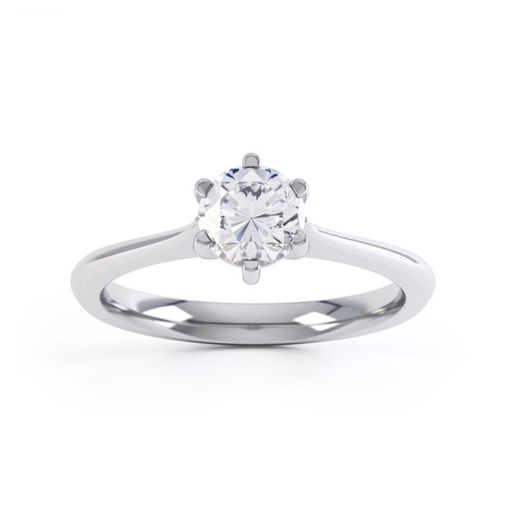 6 Claw Diamond Engagement Ring with Basket Setting Front View