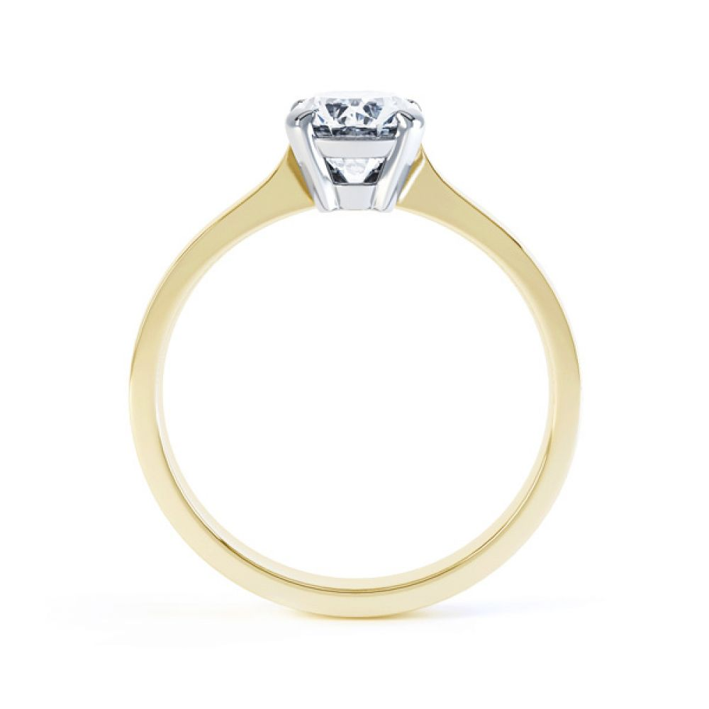 4 Claw Oval Solitaire Diamond Engagement Ring Side View In Yellow Gold