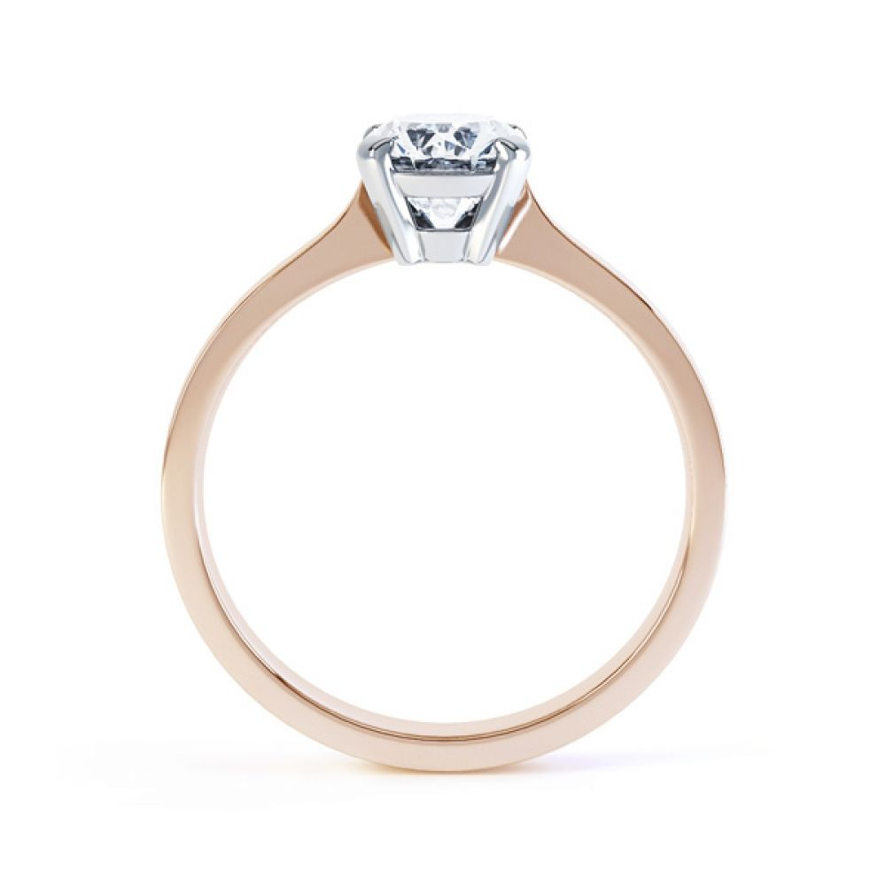 4 Claw Oval Solitaire Diamond Engagement Ring Side View In Rose Gold