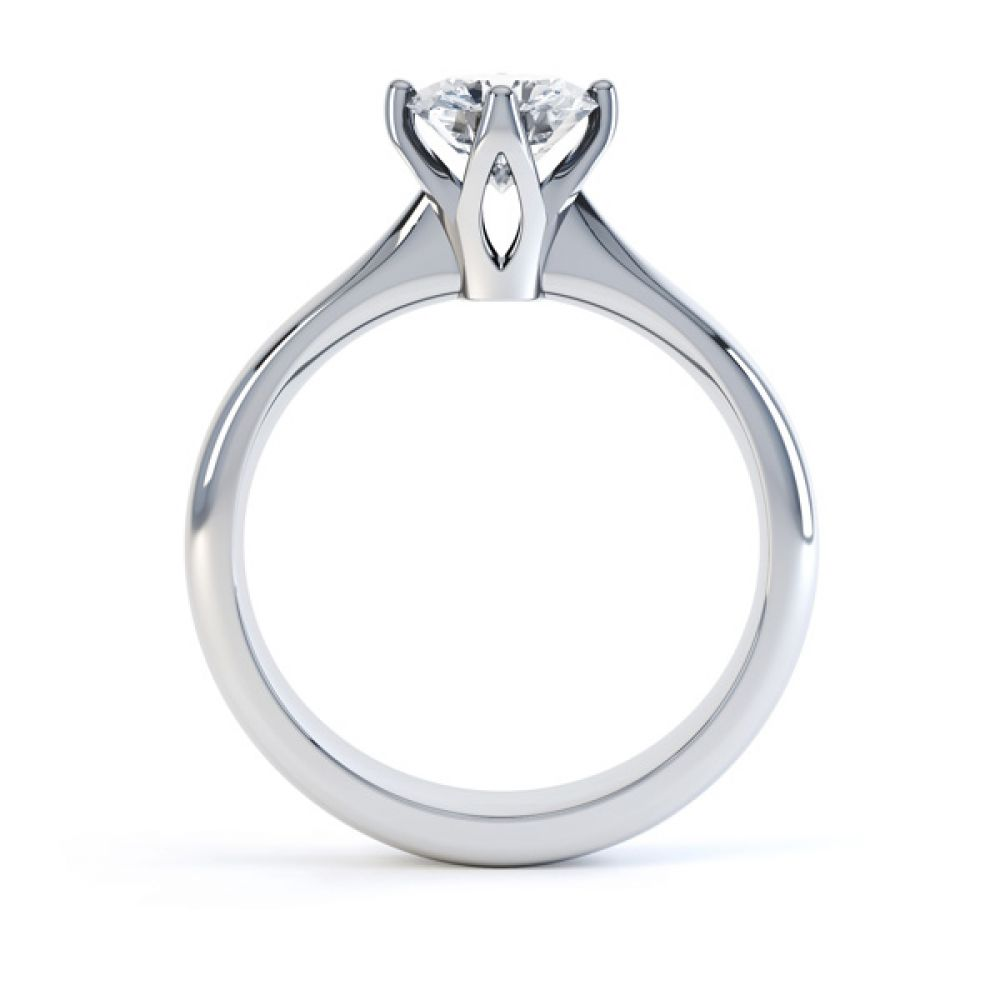Lotus 4 Claw Compass Set Engagement Ring Side View In White Gold