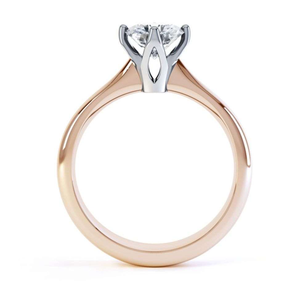 Lotus 4 Claw Compass Set Engagement Ring Side View In Rose Gold