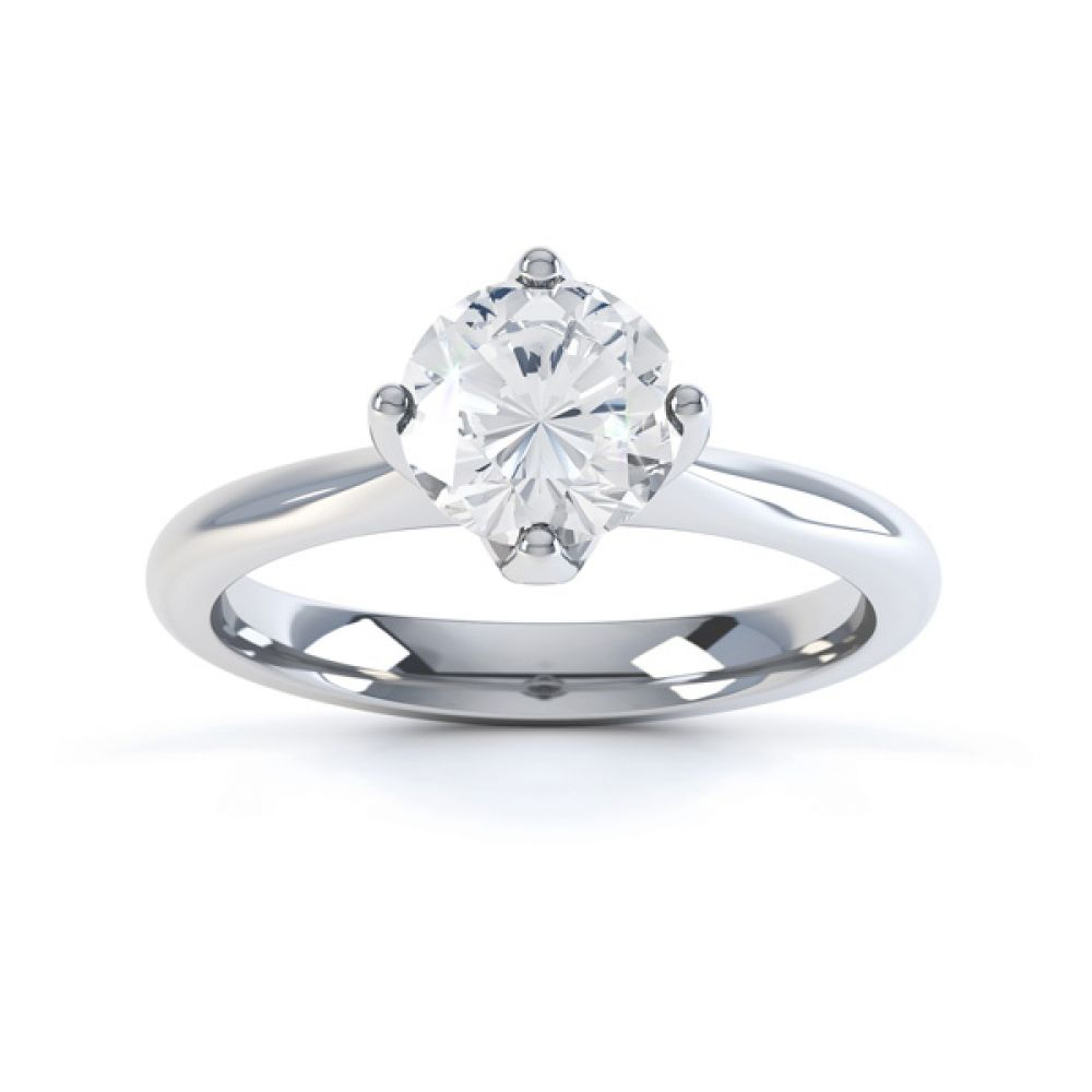 Lotus 4 Claw Compass Set Engagement Ring Front View In White Gold