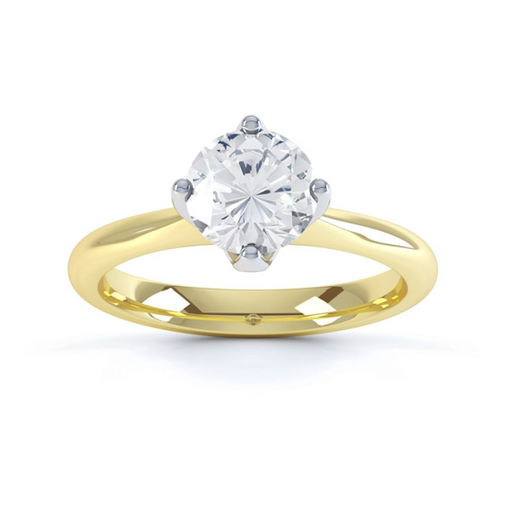 Lotus 4 Claw Compass Set Engagement Ring Front View In Yellow Gold