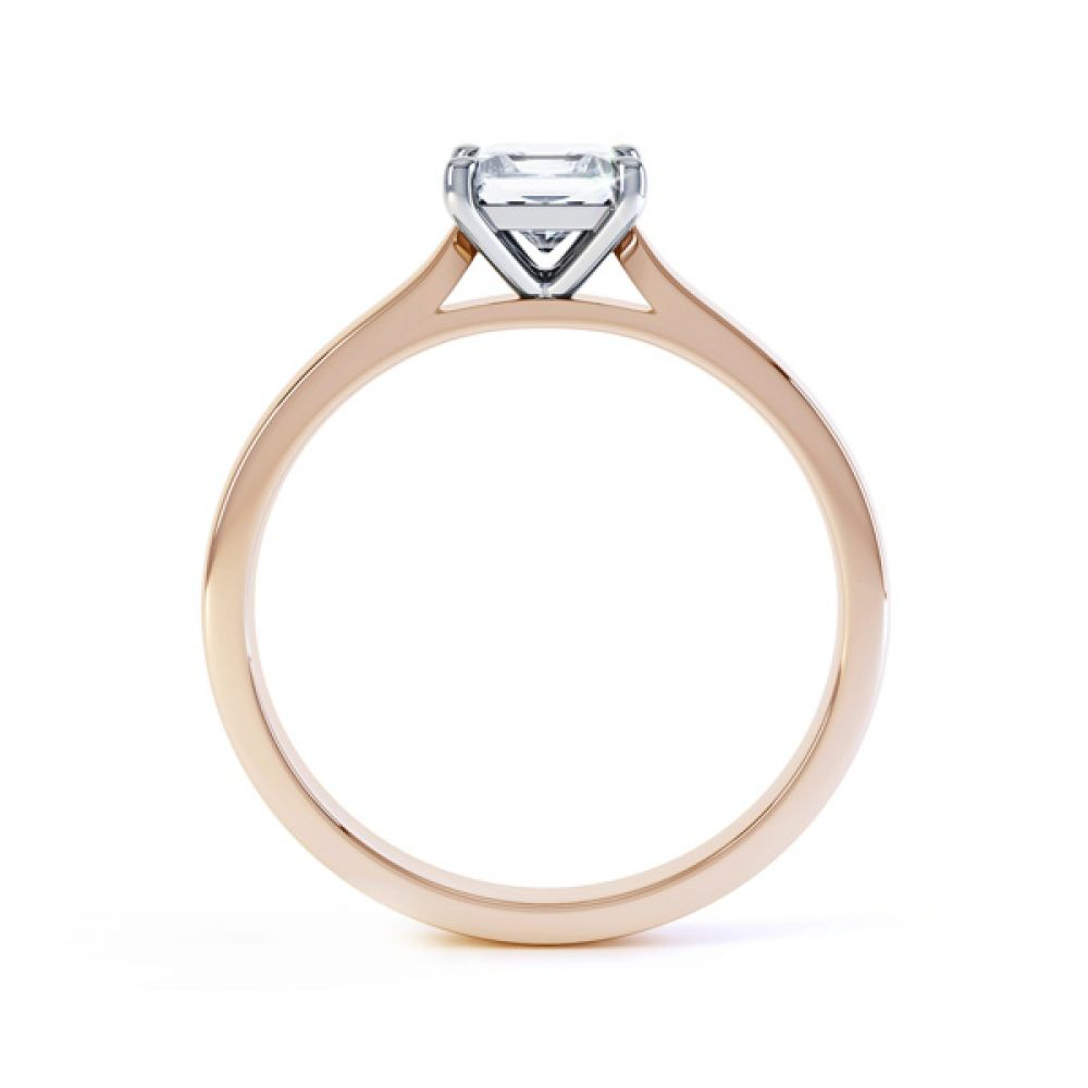 4 Prong Princess Engagement Ring Wedfit Setting Side View In Rose Gold