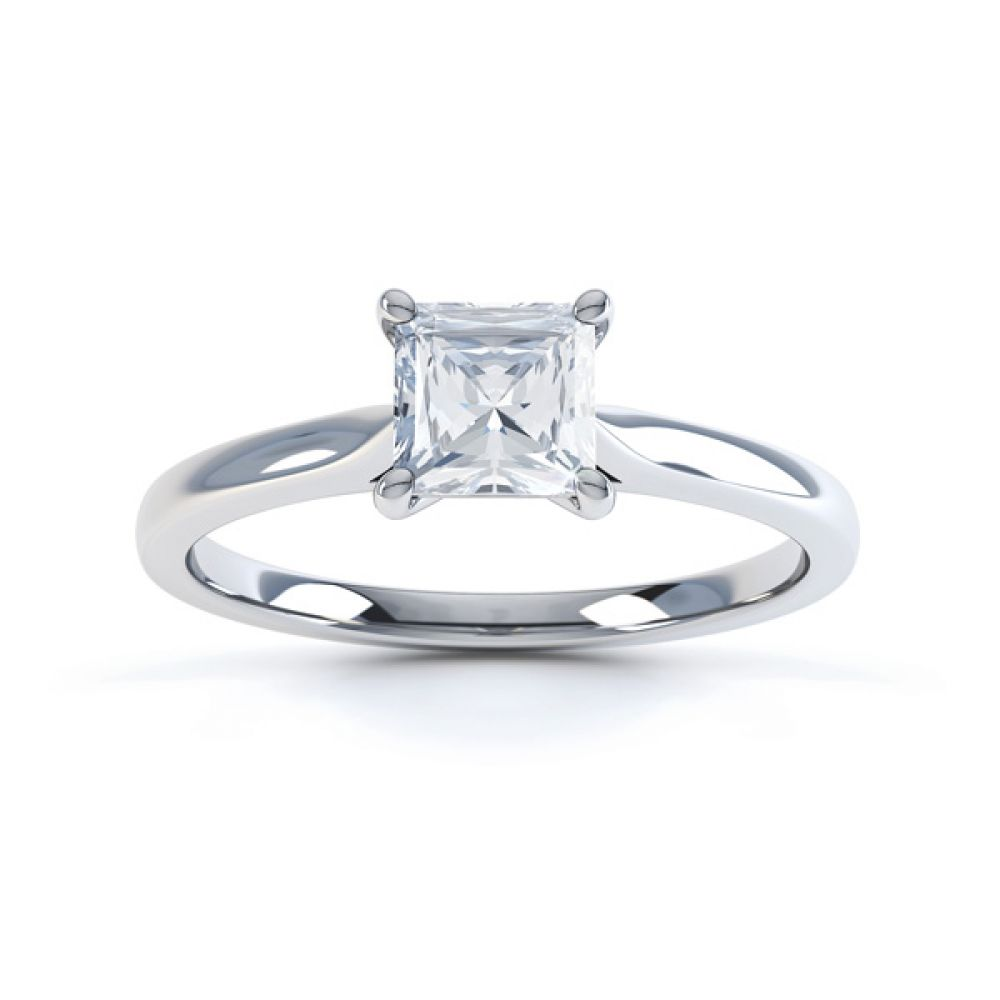 4 Prong Princess Engagement Ring Wedfit Setting Front View In White Gold