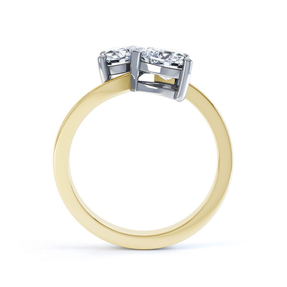 2 Stone Heart Shaped Diamond Engagement Ring Yellow Gold Side View