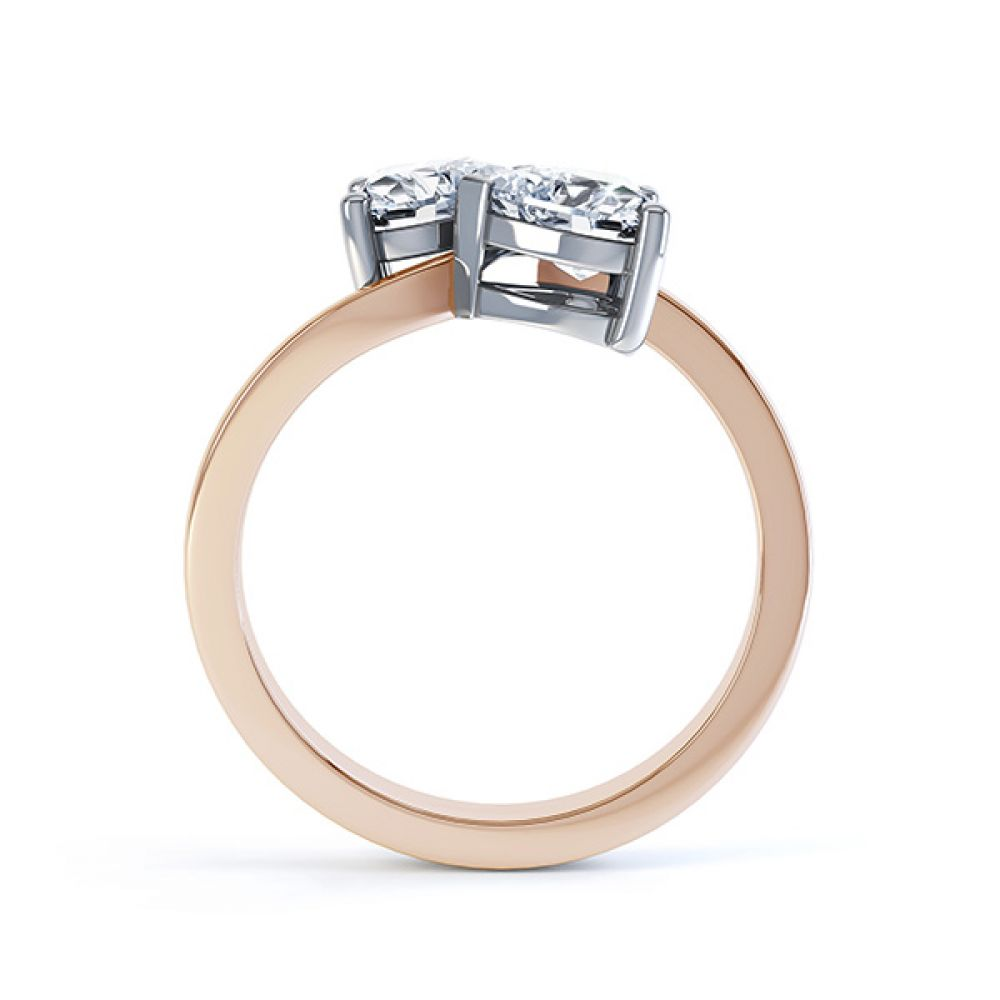 2 Stone Heart Shaped Diamond Engagement Ring Rose Gold Side View