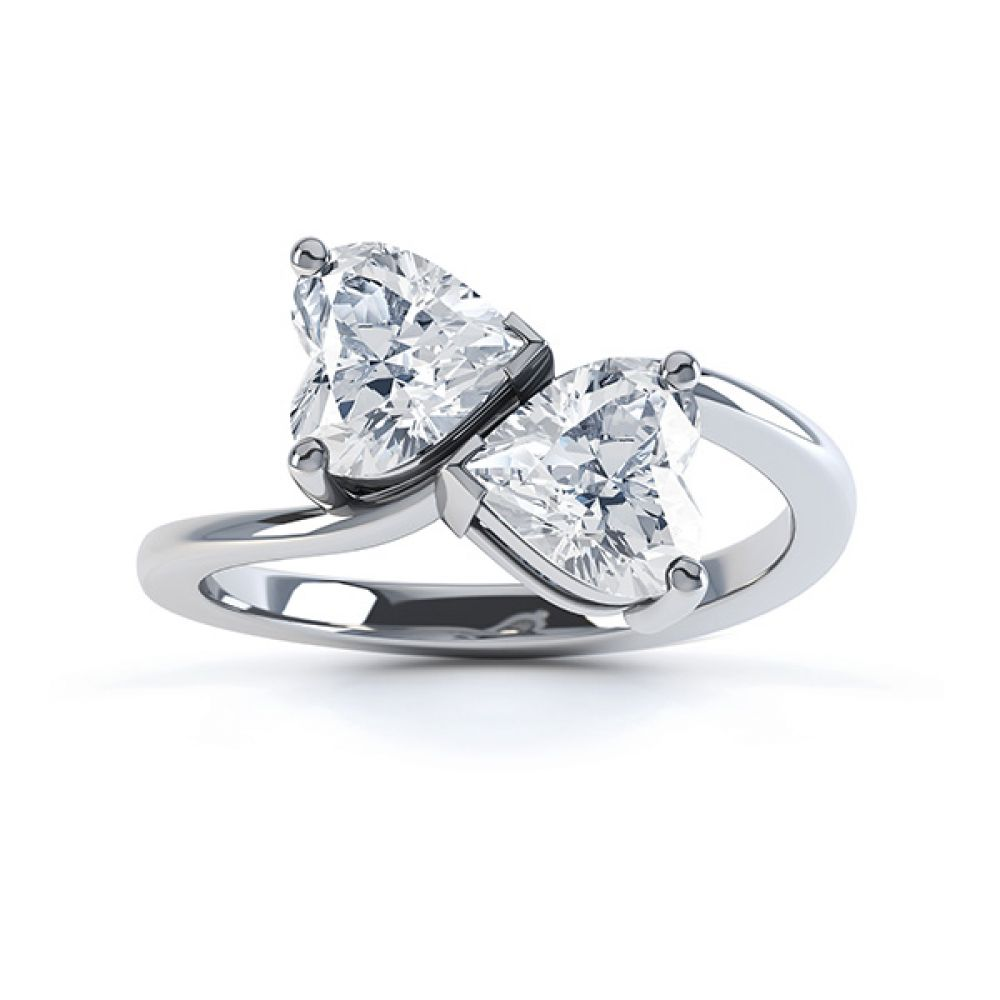 Josephine 2 stone heart shaped diamond engagement ring top view white gold