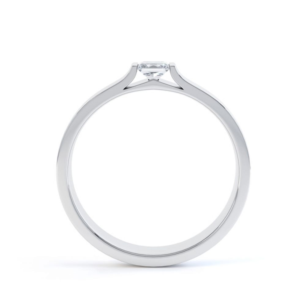 Tension Set Princess Diamond Solitaire Ring Side View
