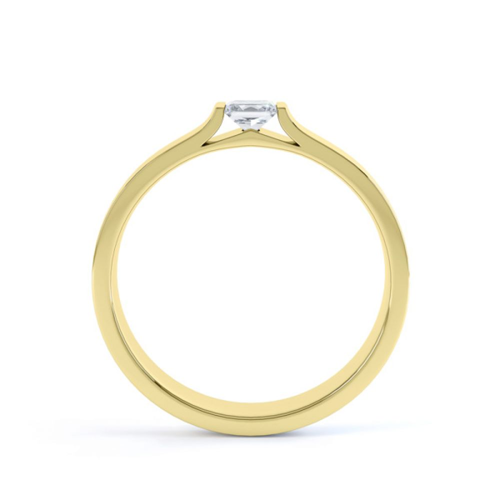 Tension Set Princess Diamond Solitaire Ring Side View In Yellow Gold