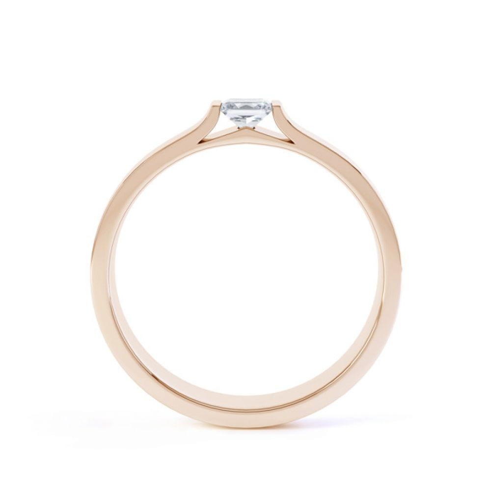Tension Set Princess Diamond Solitaire Ring Side View In Rose Gold