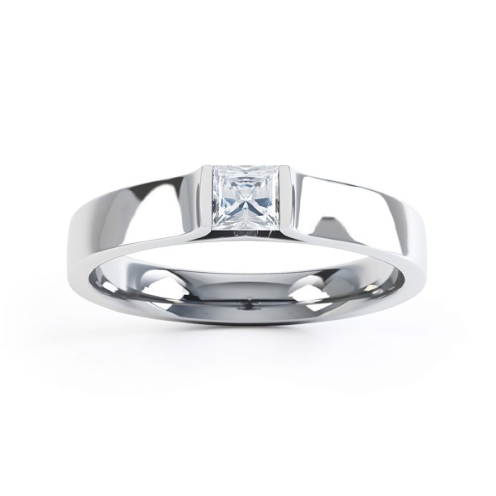 Tension Set Princess Diamond Solitaire Ring Top View