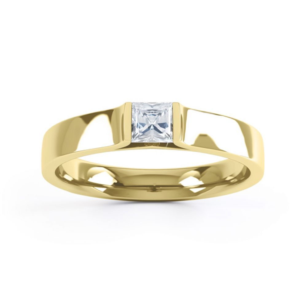 Tension Set Princess Diamond Solitaire Ring Top View In Yellow Gold
