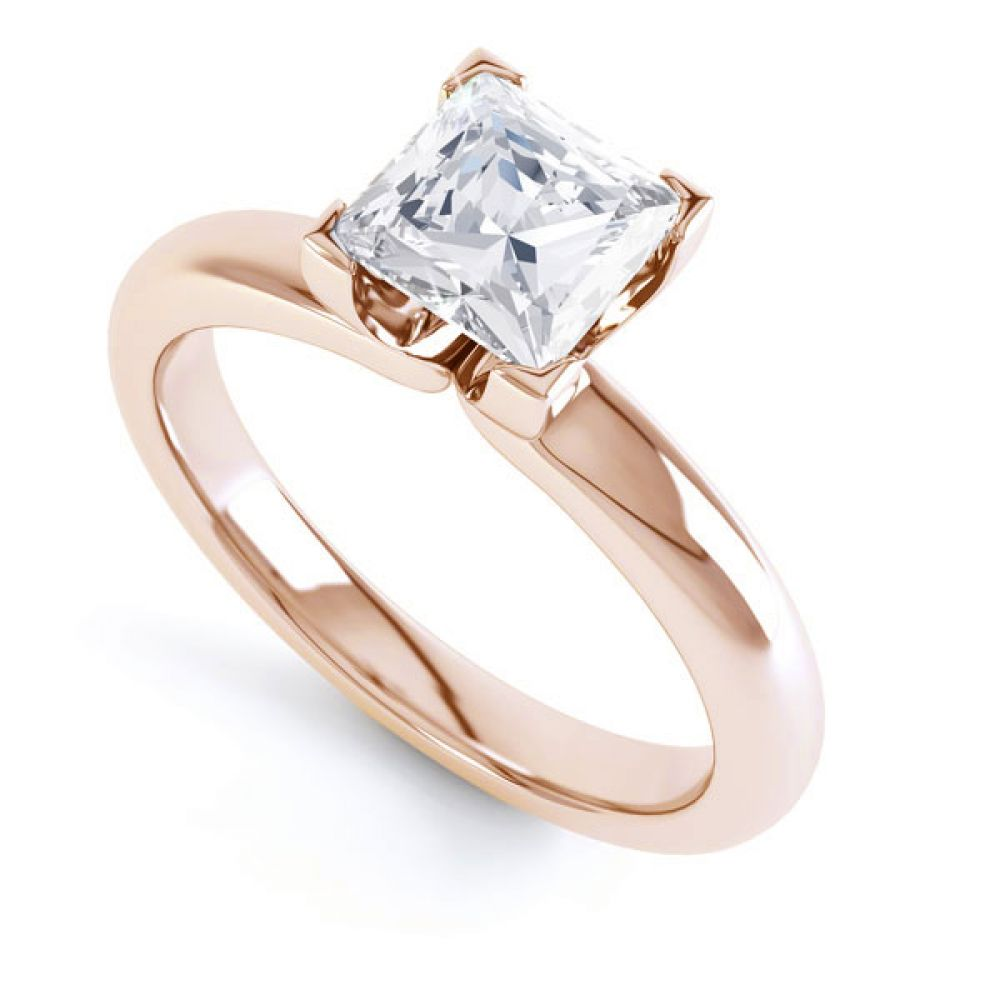 Square Diamond Ring with Box 4 Claw Setting In Rose Gold