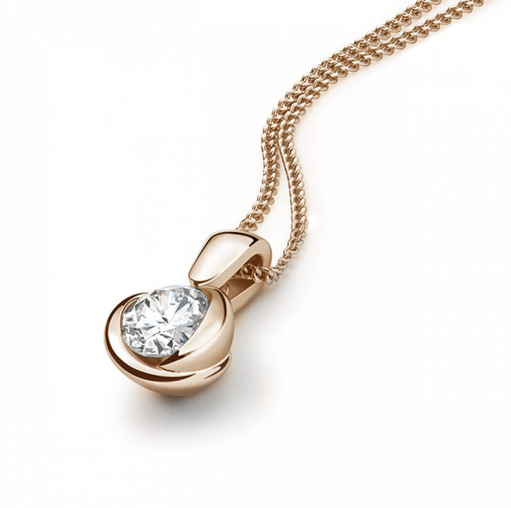 18ct Rose Gold Rosebud Diamond Solitaire Pendant