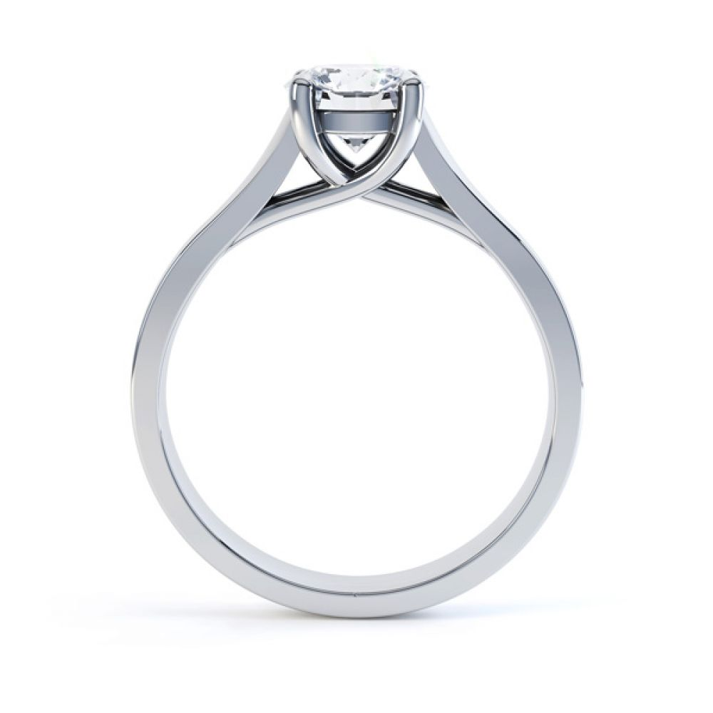 Elegant Round Solitaire with Cross-Over 4 Claw Setting Side White