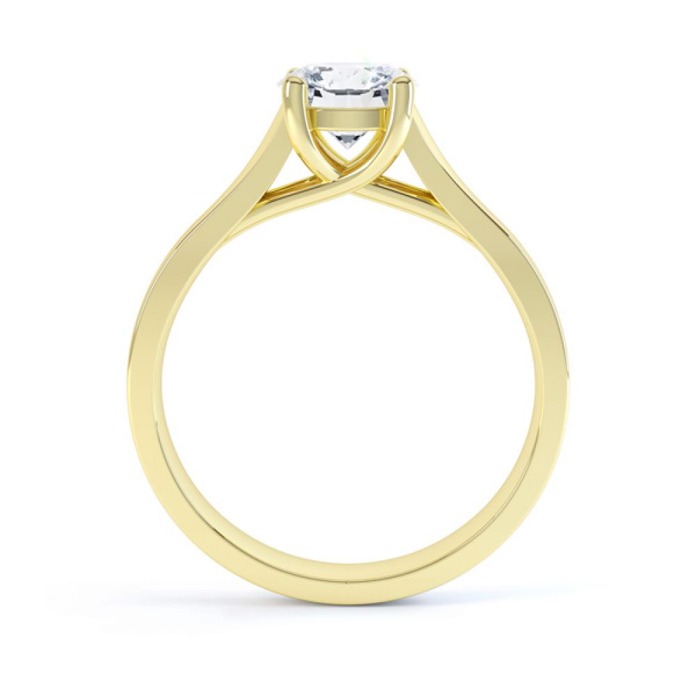 Elegant Round Solitaire with Cross-Over 4 Claw Setting Side Yellow