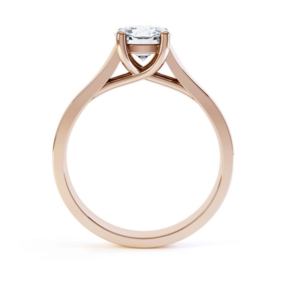 Elegant Round Solitaire with Cross-Over 4 Claw Setting Side Rose