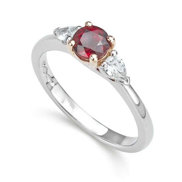 Ruby and Pear-Shaped Diamond 3 Stone Engagement Ring Main Image