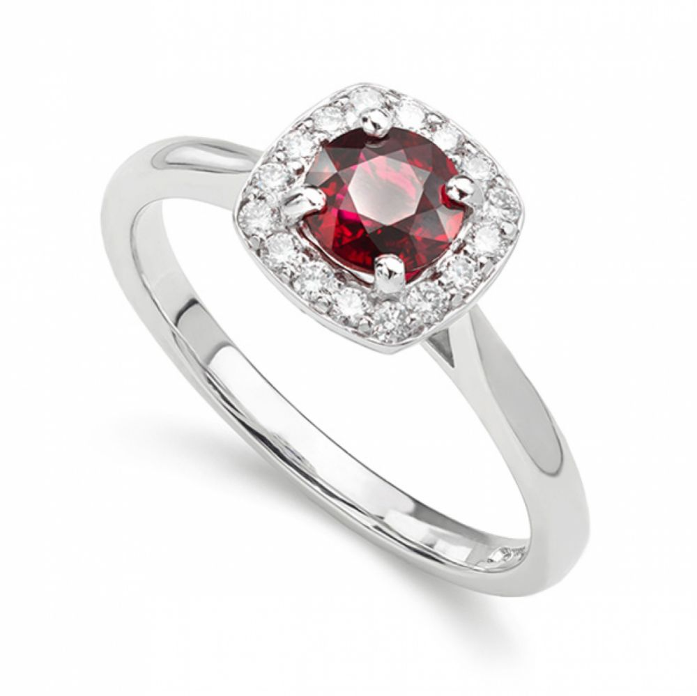 Red ruby and diamond cushion shaped halo engagement ring