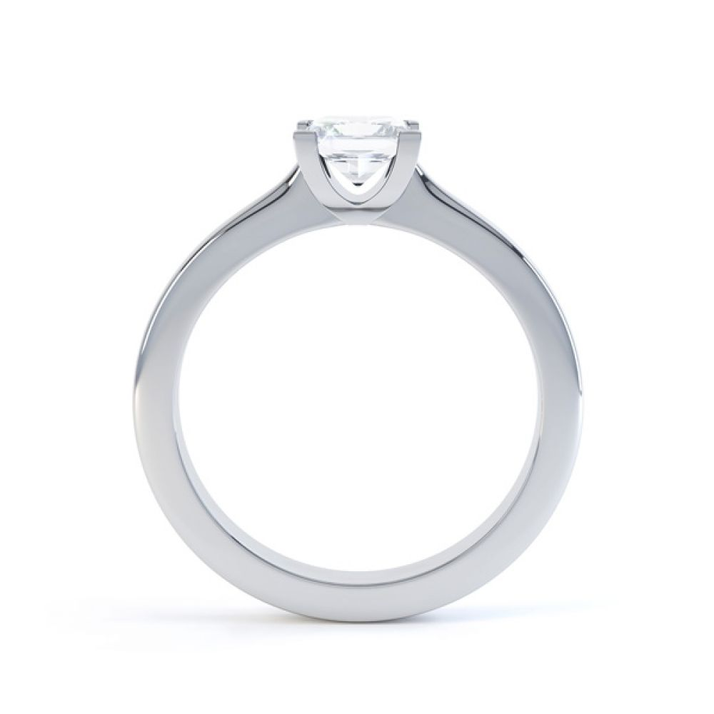 Modern 4 Claw Princess Solitaire Diamond Ring Side View
